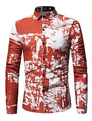 Недорогие -Муж. Рубашка Хлопок С принтом / Длинный рукав