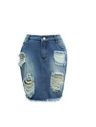 baratos -Mulheres Vintage Bodycon Saias - Sólido