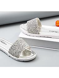 economico -Da donna Scarpe Pelle OVC Primavera Estate Comoda Pantofole e infradito Piatto Occhio di pernice Con diamantini per Casual Oro Nero