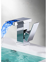 abordables -Moderno Conjunto Central Cascada Válvula Cerámica Sola manija Un agujero Cromo, Baño grifo del fregadero