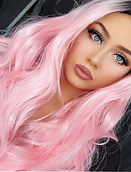 cheap -Women Synthetic Lace Front Wig 24inch Long Wavy Ombre Pink Highlighted/Balayage Hair Wig