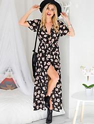 cheap -Women's Sheath Dress - Polka Dot, Split High Waist Maxi V Neck