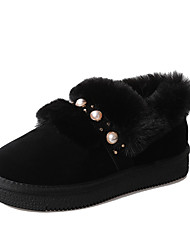 cheap -Women's Shoes PU(Polyurethane) Winter Comfort / Fur Lining Loafers & Slip-Ons Round Toe Black / Brown