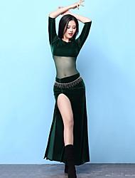 economico -Danza del ventre Vestiti Per donna Addestramento Elastene Con spacco Mezza Manica Alto Abiti
