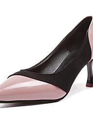 preiswerte -Damen Schuhe PU Winter Komfort Pumps High Heels Keilabsatz Spitze Zehe für Kleid Schwarz Grau Rosa