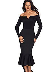 cheap -Women's Daily Casual Sheath Dress,Solid V Neck Midi Long Sleeve Polyester Fall High Waist Micro-elastic Opaque
