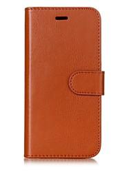 Недорогие -Кейс для Назначение Huawei P8 Lite (2017) P10 Lite Бумажник для карт Кошелек со стендом Флип Магнитный Чехол Сплошной цвет Твердый Кожа PU