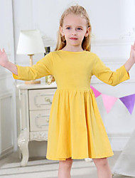 cheap -Girl's Daily Solid Dress, Cotton Spring Fall Long Sleeves Casual Active Yellow