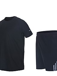 cheap -Men's Running Shirt with Shorts - Blue, Forest Green, Grey Sports Stripe Shorts Fitness, Gym, Workout Short Sleeve Activewear Quick Dry, Breathable, Sweat-wicking