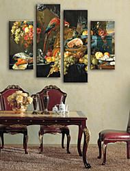 abordables -Toile Rustique Moderne, Quatre Panneaux Toile Panoramique vertical Imprimé Décoration murale Décoration d'intérieur