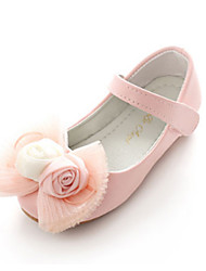 cheap -Girls' Shoes PU Spring Comfort / Novelty / Flower Girl Shoes Flats Bowknot / Appliques / Magic Tape for White / Pink / Wedding