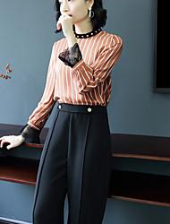economico -Camicia Da donna Ufficio Da party/cocktail Sensuale Moda città Primavera Autunno,Tinta unita Colletto alla coreana Seta Maniche lunghe