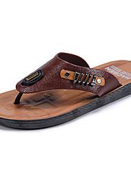 preiswerte -Herrn Schuhe Gummi Sommer Komfort Sandalen für Draussen Orange Braun