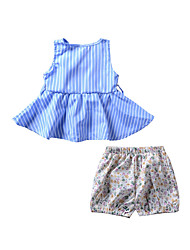 cheap -Girls' Daily Holiday Striped Floral Clothing Set, Cotton Polyester Summer All Seasons Sleeveless Cute Active Light Blue