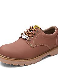 baratos -Homens sapatos Pele Primavera Outono Conforto Tênis para Casual Amarelo Café Vinho