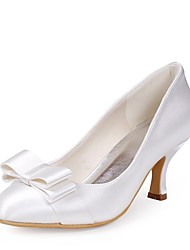 preiswerte -Damen Schuhe Seide Frühling Sommer Pumps Hochzeit Schuhe Niedriger Heel Peep Toe Schleife für Hochzeit Party & Festivität Weiß
