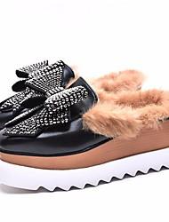 abordables -Femme Chaussures PU de microfibre synthétique Printemps Automne Confort Sabot & Mules Creepers pour Décontracté Blanc Noir