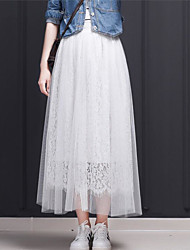 cheap -Women's Holiday Going out Midi Skirts,Active Swing Cotton Polyester Solid Lace Winter Autumn/Fall