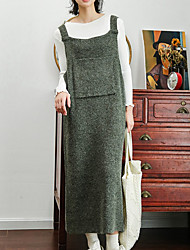 abordables -Set Robes Costumes Femme,Couleur Pleine Décontracté / Quotidien simple Hiver Sans Manches Coton