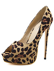 cheap -Women's Shoes Nubuck leather Spring Summer Comfort Novelty Heels Stiletto Heel Peep Toe for Wedding Party & Evening Leopard