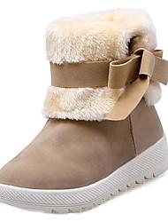 baratos -Mulheres Sapatos Couro Ecológico Primavera Outono Conforto Botas Sem Salto para Ao ar livre Preto Vermelho Khaki