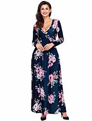abordables -Mujer Noche Vaina Vestido Floral Maxi Escote en Pico / Otoño / Invierno / Patrones florales