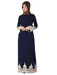 abordables -Mode Robe Arabe Abaya Robe caftan Féminin Fête / Célébration Déguisement d'Halloween Bleu Couleur Pleine