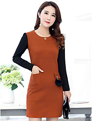 cheap -Women's Going out Simple A Line Dress,Color Block U Neck Above Knee Long Sleeve Cotton Winter Fall Mid Rise Micro-elastic Opaque