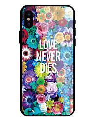 Недорогие -Кейс для Назначение Apple iPhone X iPhone 8 С узором Слова / выражения Цветы Твердый для