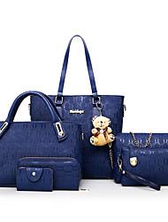 baratos -Mulheres Bolsas Couro Ecológico Conjuntos de saco 6 Pcs Purse Set Bolsos para Casual Escritório e Carreira Todas as Estações Azul Dourado