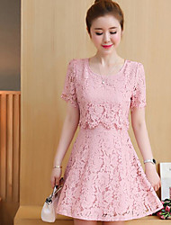 cheap -Women's Going out Simple Lace Dress,Solid U Neck Above Knee Short Sleeve Cotton Spring Fall Mid Rise Micro-elastic Opaque
