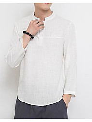 cheap -Men's Holiday Going out Active Chinoiserie Winter Fall T-shirt,Solid Round Neck Long Sleeve Linen Thin