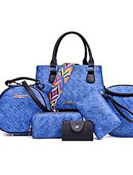 baratos -Mulheres Bolsas PU Conjuntos de saco 6 Pcs Purse Set Ziper Vermelho / Rosa / Cinzento