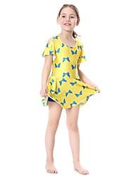 cheap -Girls' Print Swimwear, Nylon Lycra Black Yellow