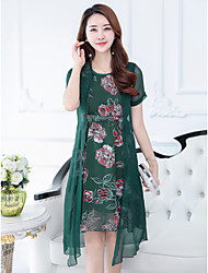 cheap -Women's Daily Street chic Sheath Dress,Floral Round Neck Midi Short Sleeve Polyester Summer High Waist Inelastic Thin