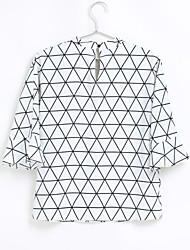cheap -Women's Daily Holiday Cute Casual Sexy Spring Blouse,Solid Geometric V Neck ½ Length Sleeve Polyester Thin