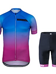 cheap -Cycling Jersey with Shorts Unisex Short Sleeves Bike Clothing Suits Bike Wear Quick Dry Geometric Cycling / Bike Blue+Pink