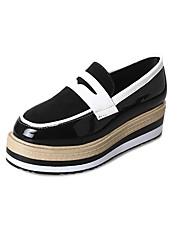 abordables -Femme Chaussures Polyuréthane Printemps Confort Mocassins et Chaussons+D6148 Talon Plat Bout rond Noeud pour Noir Marron Vert