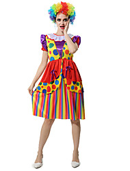 cheap -Burlesque Clown Circus Dress Cosplay Costume Party Costume Women's Carnival Festival / Holiday Halloween Costumes Rainbow Color Block