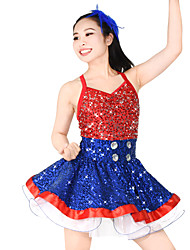 cheap -Jazz Dresses Women's Children's Stage Elastic Lycra Feathers / Fur Split Joint Paillette Sleeveless Natural Dress Headwear