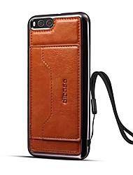 baratos -Capinha Para Xiaomi Mi 6 Porta-Cartão Com Suporte Capa Traseira Côr Sólida Rígida Couro Ecológico para Xiaomi Mi 6