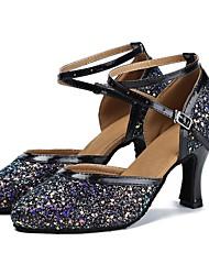 baratos -Sapatos de Dança Moderna Paetês / Couro Sintético Sandália / Salto Laços Salto Personalizado Personalizável Sapatos de Dança Preto