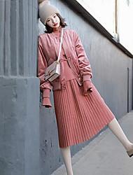 cheap -Women's Daily Vintage Winter Spring Denim Jacket,Solid Round Neck Short Sleeve Regular Cotton Acrylic