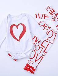 abordables -Ensemble de Vêtements Fille Quotidien Couleur Pleine Imprimé Coton Toutes les Saisons Manches Longues Actif Rouge