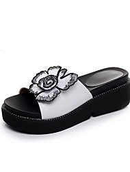 cheap -Women's Shoes Microfibre Summer Moccasin Slippers & Flip-Flops Wedge Heel Peep Toe Appliques for Casual White Black Wine