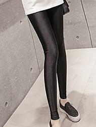 cheap -Women's Sequins Cotton Thin Solid Color Legging,Solid Black