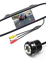 economico -ziqiao 5 pollici digital tft lcd mirror monitor e 8led ccd hd car rear view camera