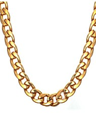 cheap -Men's Chain Necklace - Stainless Steel Fashion Gold Necklace One-piece Suit For Gift, Daily