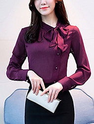 cheap -Women's Polyester Blouse - Solid, Bow Square Neck
