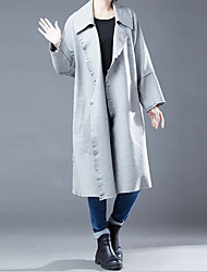 cheap -Women's Ordinary Universal Wool Coat-Solid Colored Yarn Dyed